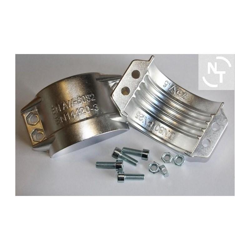 Obejma skorupowa 75x7,5 mm aluminium - obejma typ RS (kpl - 2 szt. + śruby)