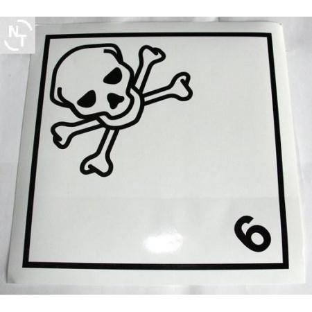 Nalepka ostrzegawcza ADR nr 6.1 czaszka